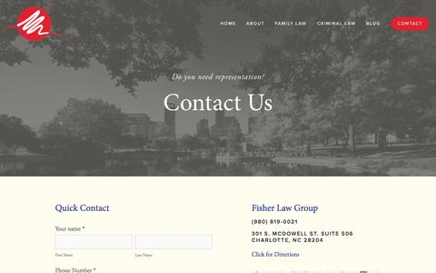Screenshot of Contact Page fisherlawgrouppllc.com - Contact — Family Lawyer in Charlotte, NC | Child Custody Attorney Charlotte North Carolina | Fisher Law Group PLLC - captured Aug. 3, 2015