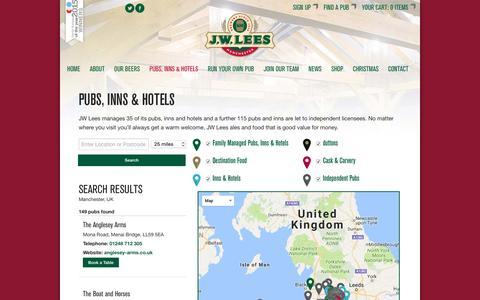 Screenshot of Locations Page jwlees.co.uk - JW Lees — Pubs, Inns & Hotels — - captured Nov. 18, 2016