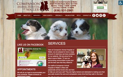 Screenshot of Services Page cahwaller.com - Veterinarian Services in Waller TX | Companion Animal Hospital of Waller - captured Sept. 29, 2018