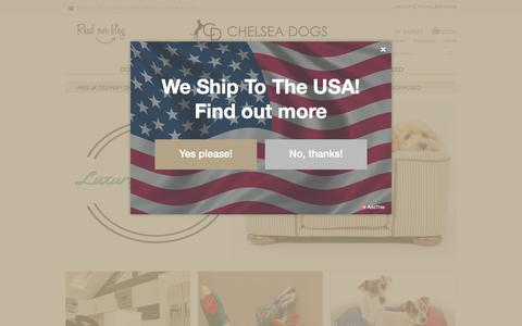 Screenshot of Home Page chelseadogs.com - Luxury Dog Beds   Designer Posh Leather Dog Collars And Leads - captured July 10, 2017