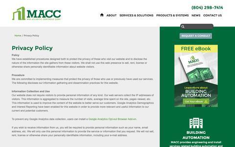 Screenshot of Privacy Page midatlanticcontrols.com - Privacy Policy   Richmond VA - captured Oct. 18, 2018