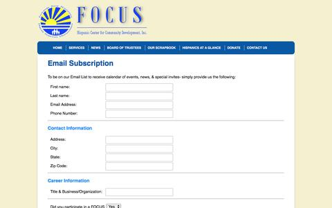 Screenshot of Signup Page focus411.org - Contact Us   FOCUS 411 - captured Nov. 25, 2016