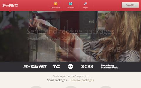 Screenshot of Home Page swapbox.com - Swapbox - Send and receive packages - captured Sept. 17, 2014