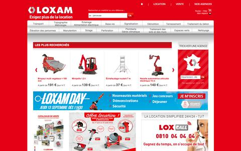 Screenshot of Home Page loxam.fr - Location de materiel pour batiment, TP, industrie : LOXAM - captured Aug. 31, 2018