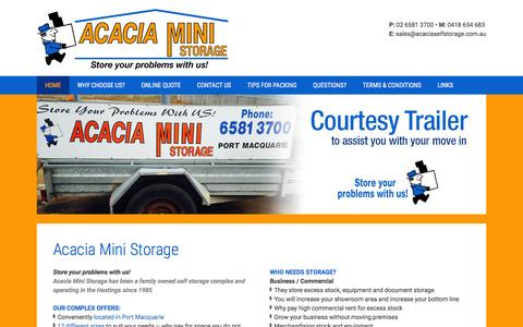Screenshot of Home Page acaciaselfstorage.com.au - Acacia Self Storage - Port Macquarie - Ph 02 6581 3700 - captured Feb. 5, 2016