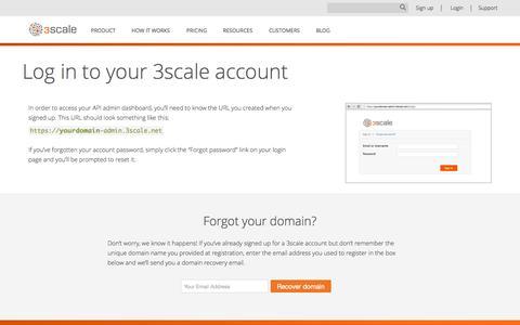 Screenshot of Login Page 3scale.net - Login - 3scale API Management Platform - captured Oct. 20, 2015