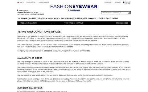 Screenshot of Terms Page fashioneyewear.co.uk - Terms and Conditions - captured Sept. 19, 2014