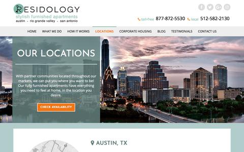 Screenshot of Locations Page residology.com - Temporary Housing Locations in Texas | RESIDOLOGY - captured Oct. 21, 2017