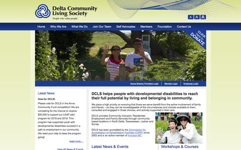 Screenshot of Home Page dcls.ca - Delta Community Living Society - captured Oct. 12, 2017