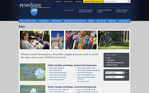 Screenshot of Maps & Directions Page psu.edu - Maps - captured Sept. 19, 2014