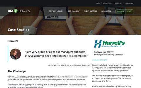 Screenshot of Case Studies Page bizlibrary.com - Harrell's Uses BizLibrary Online Training Solutions - captured June 6, 2018