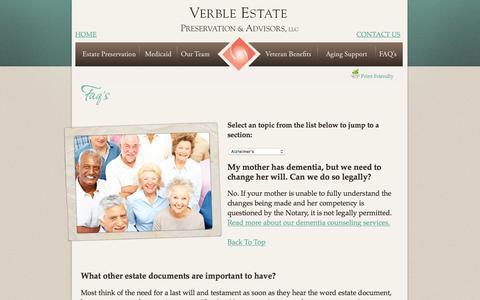 Screenshot of FAQ Page verbleseniorsolutions.com - Verble Estate Preservation & Advisors, LLC. - captured Feb. 23, 2016