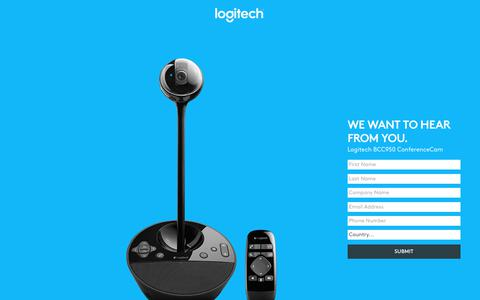 Screenshot of Landing Page logitech.com - Logitech BCC950 ConferenceCam | Contact Us - captured July 23, 2017