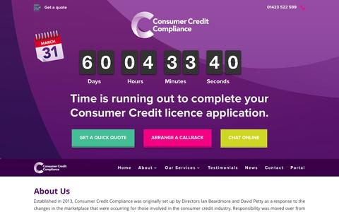 Screenshot of About Page consumercreditcompliance.co.uk - Consumer Credit Compliance | About - captured Jan. 31, 2016