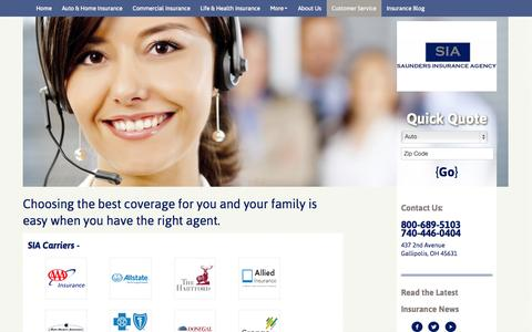 Screenshot of Support Page saundersins.com - Customer Service | Saunders Insurance Agency - captured Oct. 4, 2014