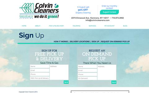 Screenshot of Signup Page colvincleaners.com - Colvin Cleaners | Sign Up for Pick Up & Delivery - captured Aug. 17, 2017