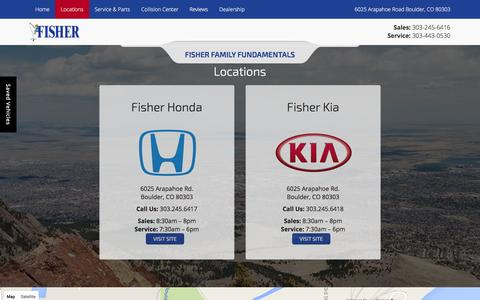 Screenshot of Locations Page fisherauto.com - Dealership Locations Boulder | Fisher Auto - captured Feb. 10, 2016