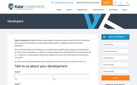 Screenshot of Developers Page katarinvestments.co.uk - Developers – Katar Investments - captured June 9, 2017