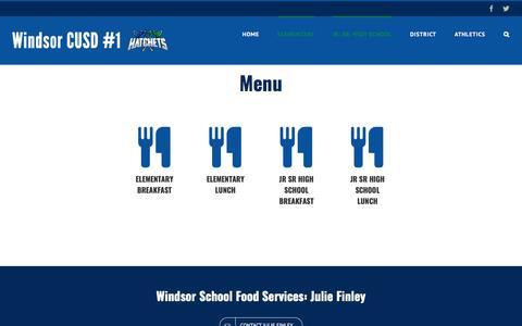 Screenshot of Menu Page windsor.k12.il.us - Menu - Windsor Community Unit School District #1 - captured Feb. 13, 2017
