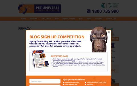 Screenshot of Privacy Page petuniverse.com.au - Privacy | Pet Universe - captured Oct. 27, 2014