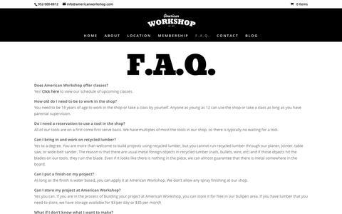 Screenshot of FAQ Page americanworkshop.com - F.A.Q. - American Workshop - captured Oct. 8, 2017