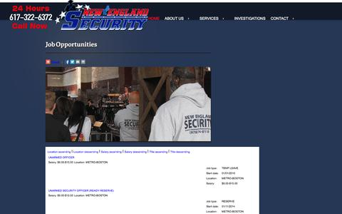Screenshot of Jobs Page newenglandsecurity.com - Security Guard Jobs in MA. - captured Oct. 26, 2014