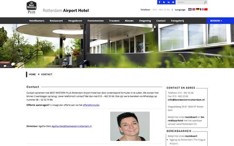 Screenshot of Contact Page airporthotelrotterdam.nl - Contact - Airport Hotel RotterdamBEST WESTERN PLUS Rotterdam Airport Hotel - captured Feb. 5, 2016