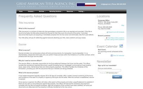 Screenshot of FAQ Page azgat.com - Great American Title Agency - FAQs - captured Oct. 3, 2014