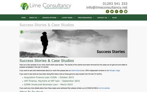 Screenshot of Case Studies Page limeconsultancy.net - Successful Case Studies | Lime Consultancy - Business Finance - captured Jan. 30, 2016