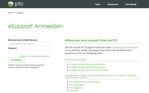 Screenshot of Support Page ptc.com - eSupport Anmelden | PTC - captured Nov. 13, 2018