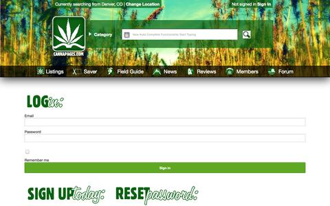 Screenshot of Login Page cannapages.com - CANNACadet Sign Up | Claim/Create Your Medical Marijuana Dispensary or Cannabis Business Listing | CANNAPAGES - captured Oct. 1, 2014