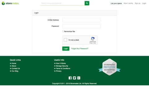 Screenshot of Login Page storemates.co.uk - Storemates - Low cost and safe storage in your local community - captured Sept. 23, 2018