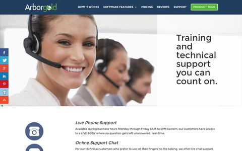 Screenshot of Support Page arborgold.com - Support - Tree Lawn and Landscape Software - captured Nov. 21, 2016