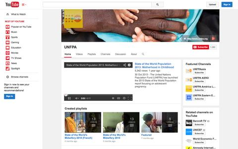 Screenshot of YouTube Page youtube.com - UNFPA  - YouTube - captured Oct. 26, 2014