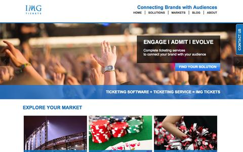 Screenshot of Home Page imgtickets.com - Ticketing and Marketing Solutions - IMG Tickets - captured Jan. 28, 2015