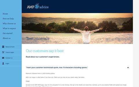 Screenshot of Testimonials Page amp.com.au - Client Testimonials - AMP Advice Erina - captured April 20, 2018