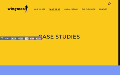 Screenshot of Case Studies Page wingmanadv.com - Our Work - captured Nov. 4, 2014