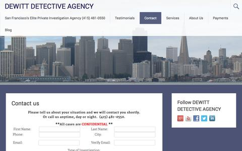 Screenshot of Contact Page sfdetective.com - Contact us  - DEWITT DETECTIVE AGENCY - captured Oct. 26, 2014
