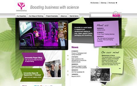 Screenshot of Home Page innventia.com - Innventia - captured Sept. 7, 2015