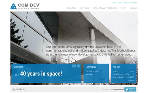 Screenshot of Home Page comdevintl.com - COM DEV International - Leaders in the production of space-qualified passive microwave equipment, specialized electronics and optical subsystems. - captured Jan. 14, 2015