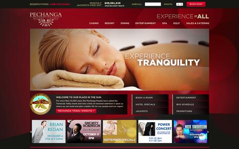 Screenshot of Home Page pechanga.com - Home - Pechanga Resort & Casino - captured Sept. 19, 2014