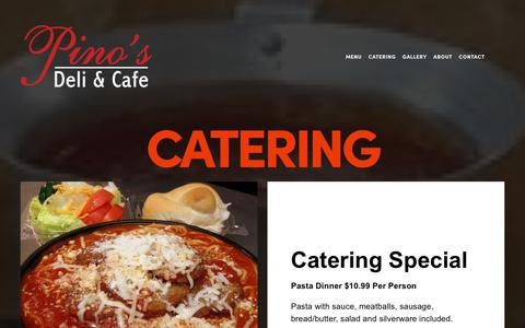 Screenshot of Locations Page pinosdeli.com - CATERING — Pino's Deli & Cafe - captured Dec. 8, 2018
