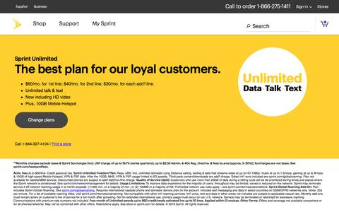 Screenshot of sprint.com - Unlimited Data Plans: Get Unlimited Talk, Text & Data from Sprint - captured Feb. 27, 2017