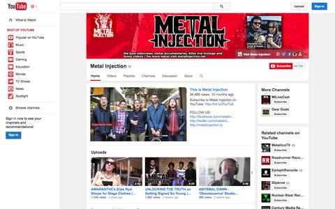 Screenshot of YouTube Page youtube.com - Metal Injection  - YouTube - captured Oct. 27, 2014