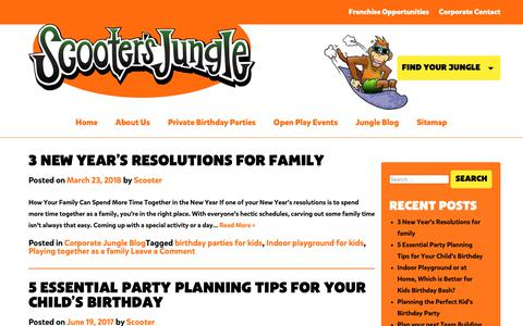 Screenshot of Blog scootersjungle.com - Gain Birthday party knowledge with Scooter's Party Blog - captured Nov. 6, 2018