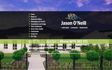 Screenshot of Home Page jasononeillbuilder.com.au - Custom Home Builder | Home Renovation | Luxury Homes - captured Jan. 9, 2016