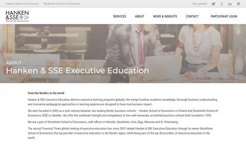 Screenshot of About Page hankensse.fi - Hanken & SSE Executive Education –  Hanken & SSE Executive Education - captured Nov. 10, 2018