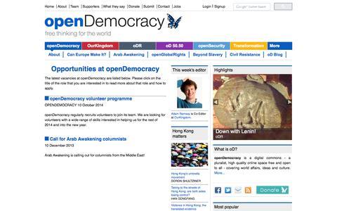 Screenshot of Jobs Page opendemocracy.net - Opportunities at openDemocracy   openDemocracy - captured Oct. 31, 2014