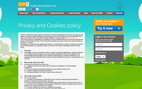 Screenshot of Privacy Page call2.com - Privacy policy - captured Sept. 19, 2014