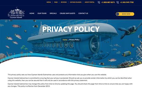 Privacy Policy - Cayman Island Submarines Tour| Cayman Submarine Tour